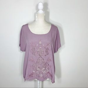 ANGIE purple sheer lace front blouse